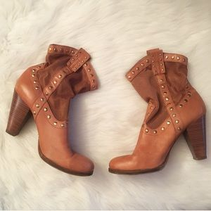 BCBGeneration Tan Studded Heeled Cowboy Boots